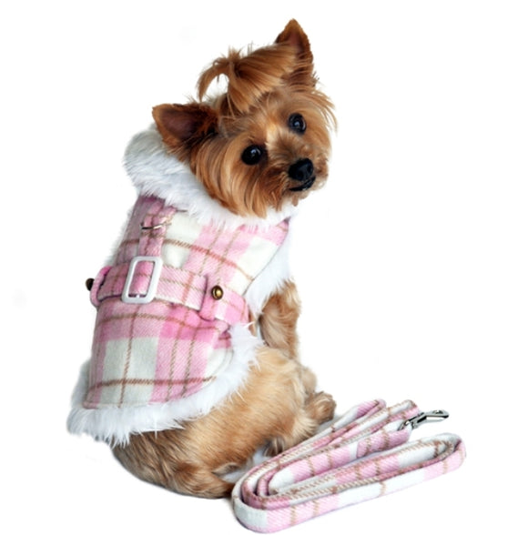 Pink and White Plaid Trimmed Designer Dog Coat