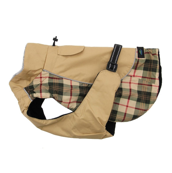 Beige Plaid All Weather Dog Coat