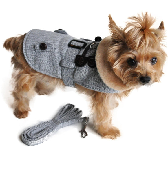 Grey Herringbone Dog Coat and Leash