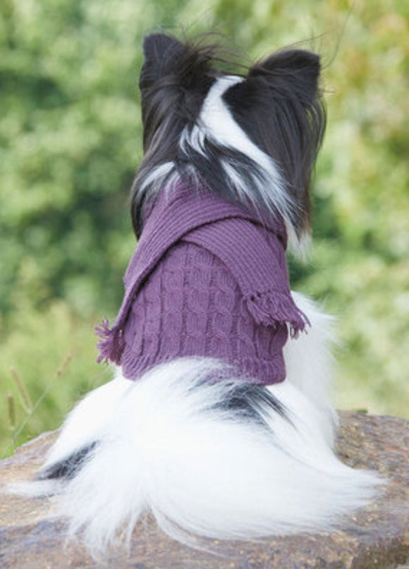 Plum Scarf Dog Sweater