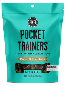 BIXBI Pocket Trainers Peanut Butter Flavor Grain-Free Dog Treats, 6-oz bag