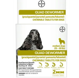 Bayer Quad Medium Dog De-Wormer, 2-count