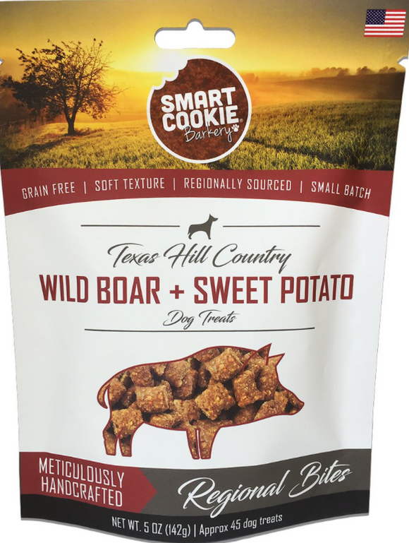 Smart Cookie Barkery Texas Hill Country Wild Boar & Sweet Potato Dog Treats, 5-oz bag