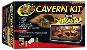 ZooMed Cavern Kit with Excavator® Clay Burrowing Substrate