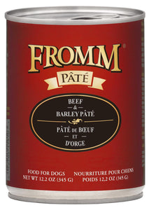 Fromm Gold Beef and Barley Pate Canned Dog Food, 12.2-oz