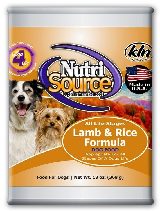 NutriSource Adult Lamb and Rice Canned Dog Food, 13-oz