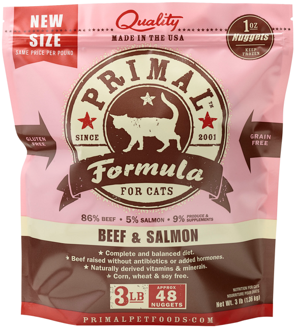 PRIMAL CAT BEEF SALMON FROZEN 3LB