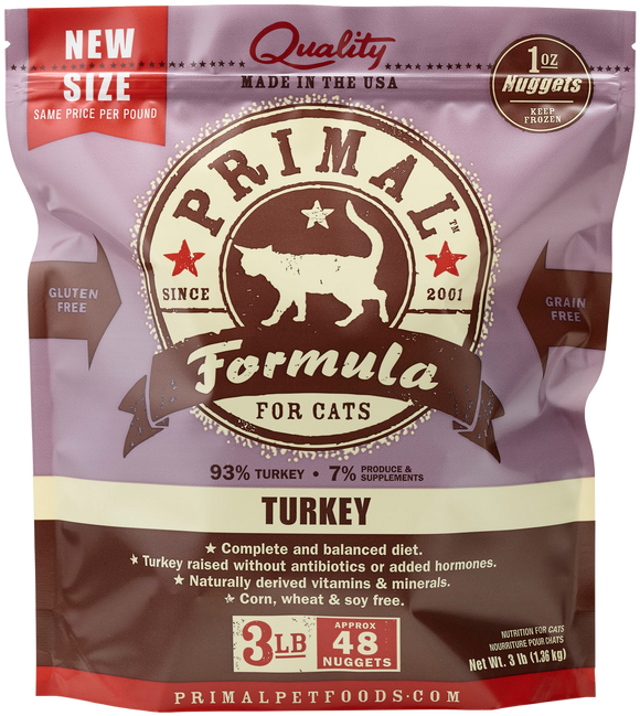 PRIMAL CAT TURKEY FROZEN 3LB