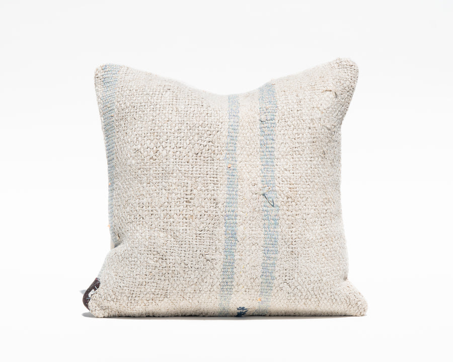 Blue Stripe Turkish Natural Hemp Pillow Cover