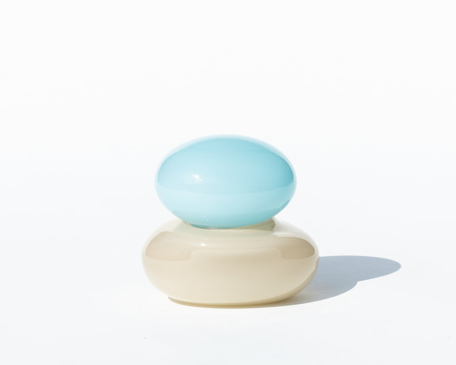 'Bonbonierre' Small Sculpture - Latte & Light Blue