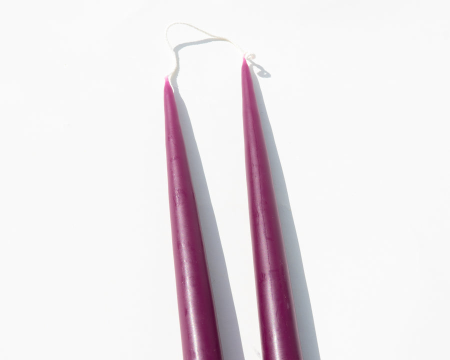 Hand-Dipped Taper Candles - Burgundy