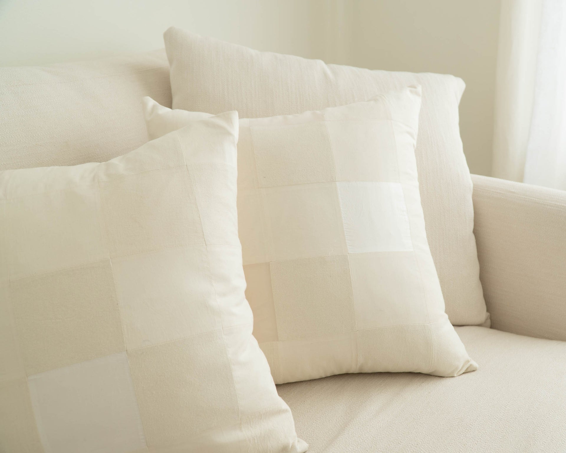 'Agnes' Quilted Silk Pillow Cover