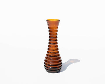 Amber Glass Ribbed Vase