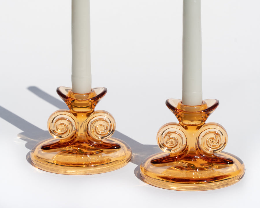 Amber Glass Swirl Candle Holders - A Pair