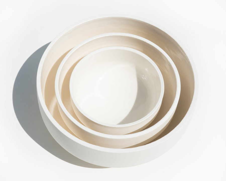 Trio of Porcelain Bowls - Cream