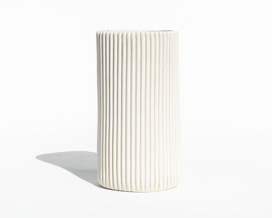 Large Ribbed Porcelain Vase