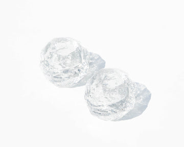 'Snowball' Textured Crystal Votive  - A Pair