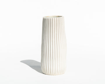 Tall Ribbed Porcelain Vase