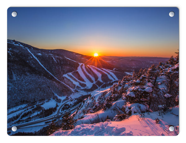 Last Winter Sunset over Cannon Mountain Glass Panel by Chris Whiton