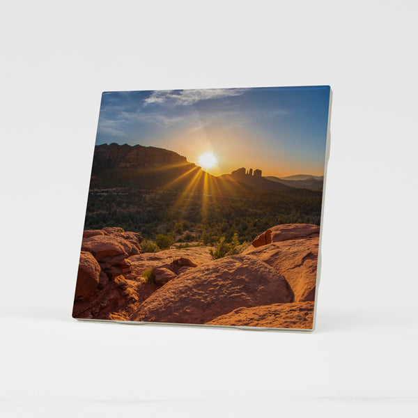 Cathedral Rock Sedona Sunset Ceramic Coaster by Chris Whiton