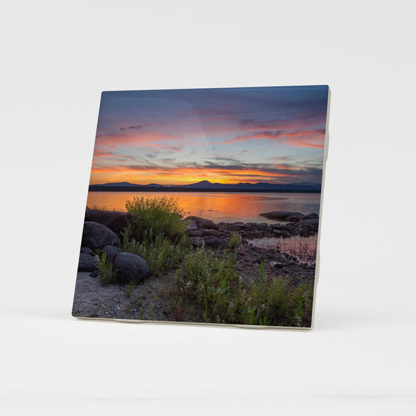 Kearsarge Sunset Ceramic Coaster by Chris Whiton