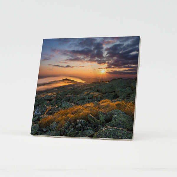 Mount Washington Morning Sunburst Ceramic Coaster by Chris Whiton