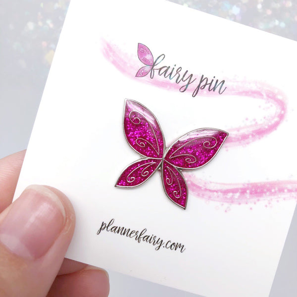 Fairy Wing Enamel Pin || Pink
