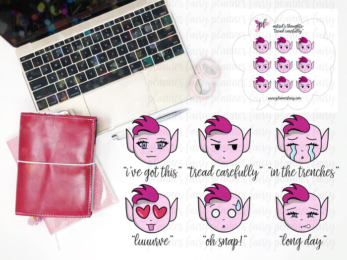 Astrid's Thoughts || Planner Fairy Exclusive Hand Drawn Stickers