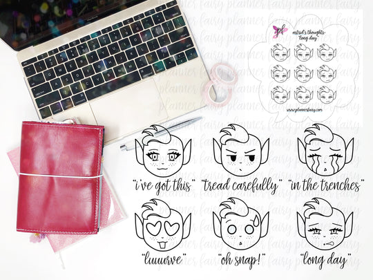 Astrid's Thoughts Monochrome || Planner Fairy Exclusive Hand Drawn Stickers