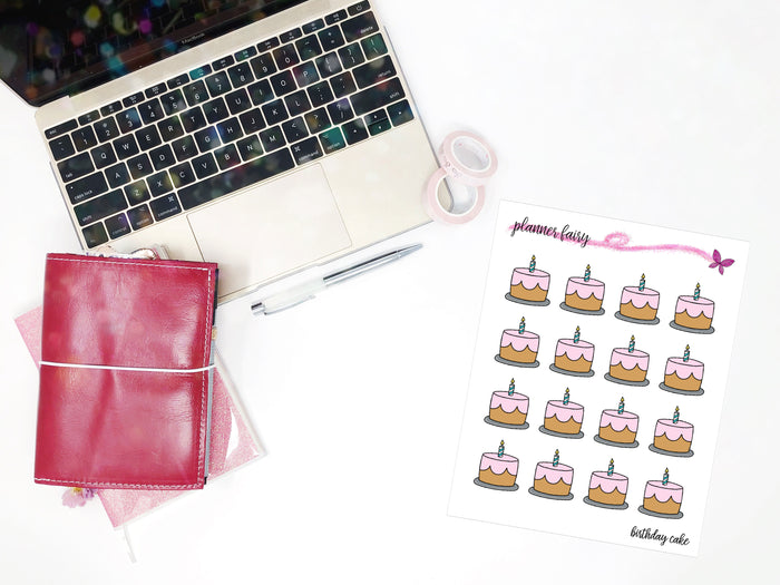 Birthday Cake || Planner Fairy Exclusive Hand Drawn Stickers