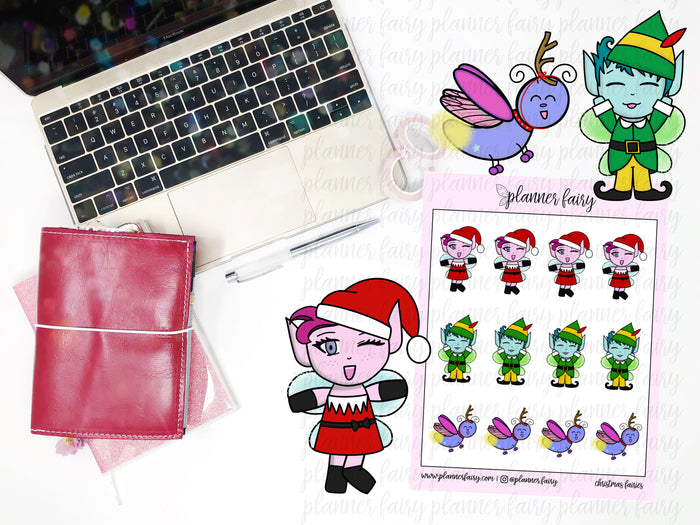 Christmas Fairies || Planner Fairy Exclusive Hand Drawn Stickers