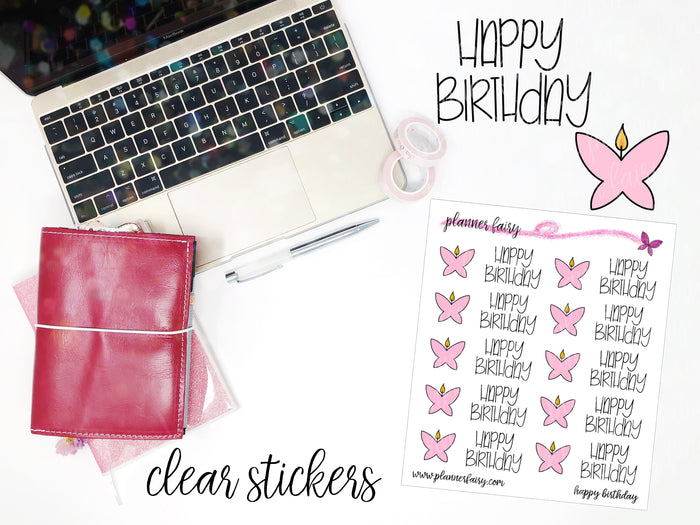 Happy Birthday || Planner Fairy Clear Stickers