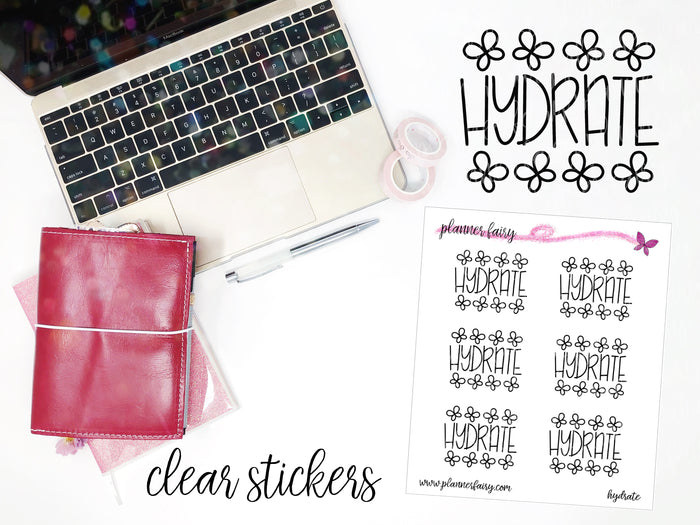 Hydrate || Planner Fairy Clear Stickers