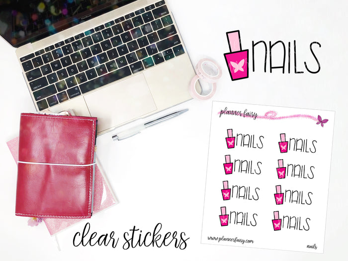 Nails || Planner Fairy Clear Stickers