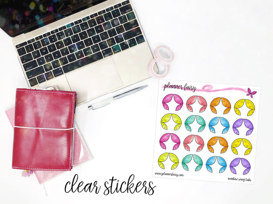 Rainbow Wing Tabs || Planner Fairy Clear Stickers