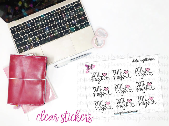 Date Night Minis || Planner Fairy Clear Stickers