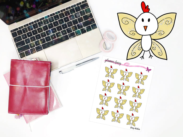 Fairy Chicken || Planner Fairy Exclusive Hand Drawn Stickers