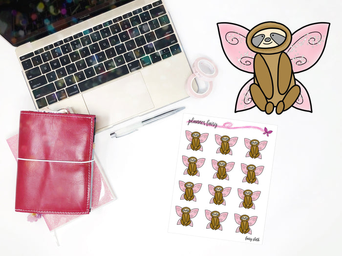 Fairy Sloth || Planner Fairy Exclusive Hand Drawn Stickers
