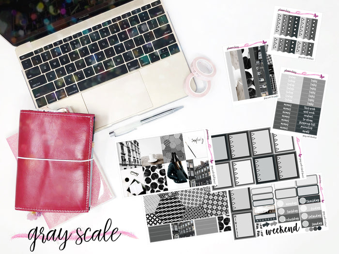Gray Scale || Planner Fairy A La Carte Weekly Kits