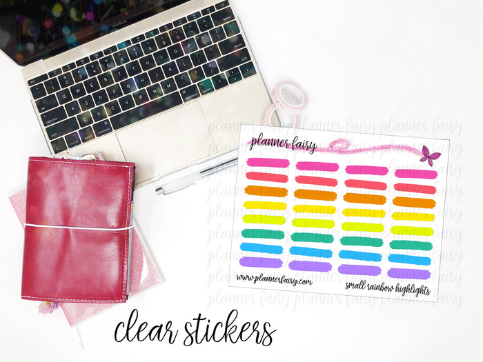 Small Highlight Strips || Planner Fairy Clear Stickers