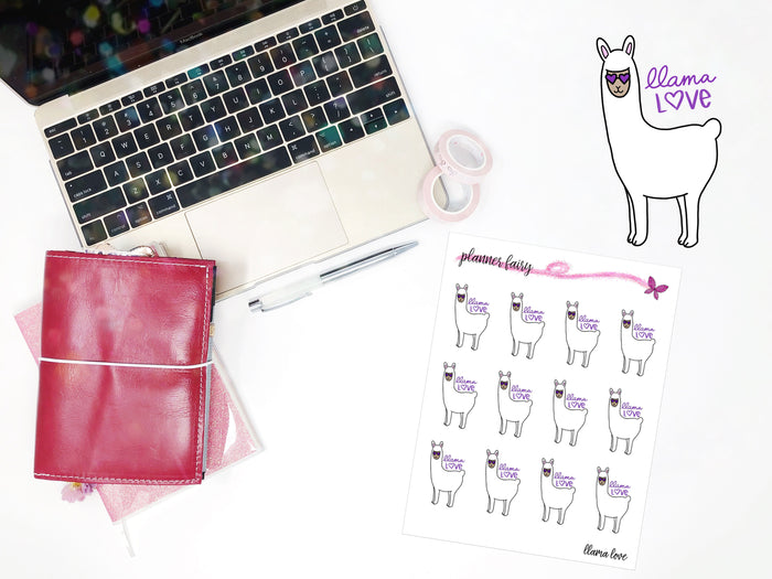 Llama Love || Planner Fairy Exclusive Hand Drawn Stickers