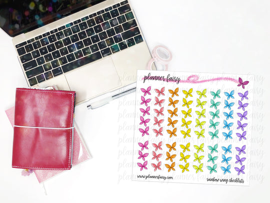 Rainbow Fairy Wing Checklists || Planner Fairy Functional Stickers