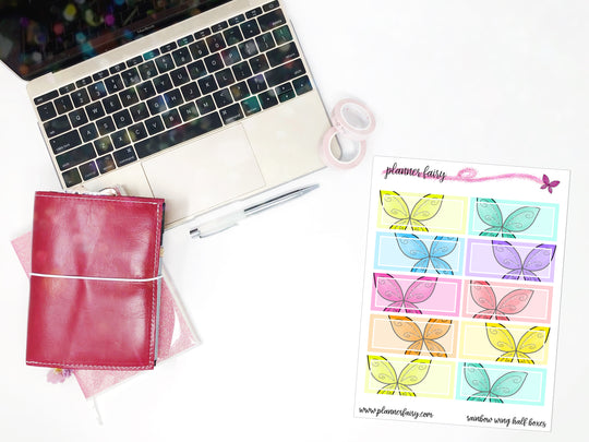 Rainbow Wing Half Boxes || Planner Fairy Exclusive Hand Drawn Functional Stickers