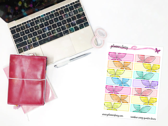 Rainbow Wing Quarter Boxes || Planner Fairy Exclusive Hand Drawn Functional Stickers
