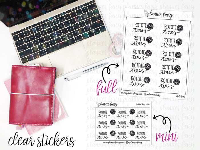 Rotate Tires || Planner Fairy Clear Stickers