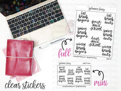 School Days || Planner Fairy Clear Stickers
