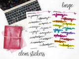 Script Months || Planner Fairy Clear Stickers