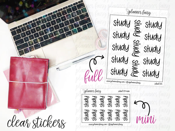 Study || Planner Fairy Clear Stickers
