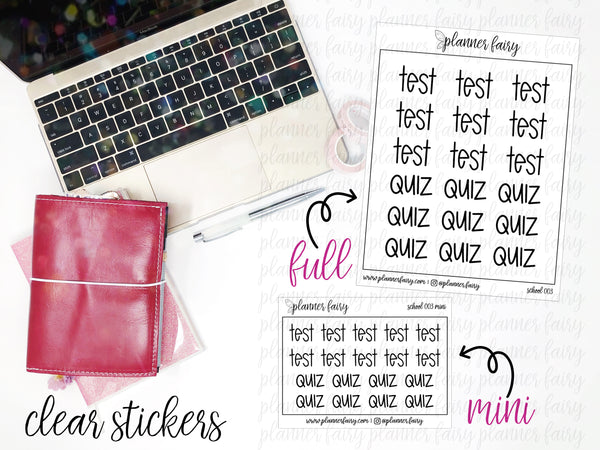Test and Quiz || Planner Fairy Clear Stickers
