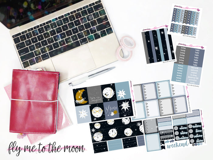 Fly Me to the Moon || Planner Fairy A La Carte Weekly Kits